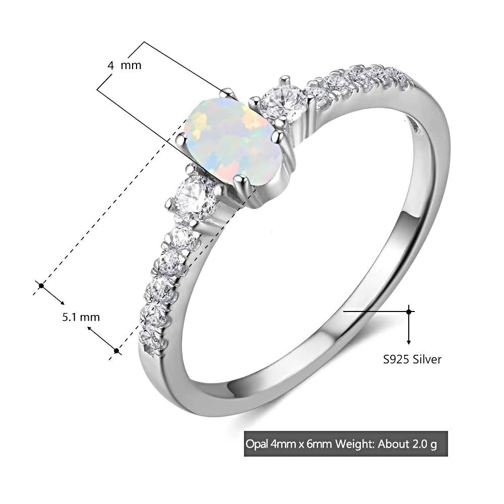 Opal Rings Silver Cubic Zirconia  - 1MRK.COM