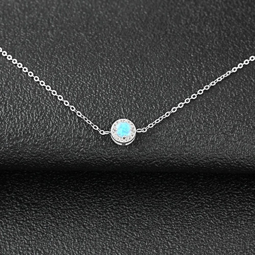 Round Blue Opal Stone Bracelets Silver - 1MRK.COM