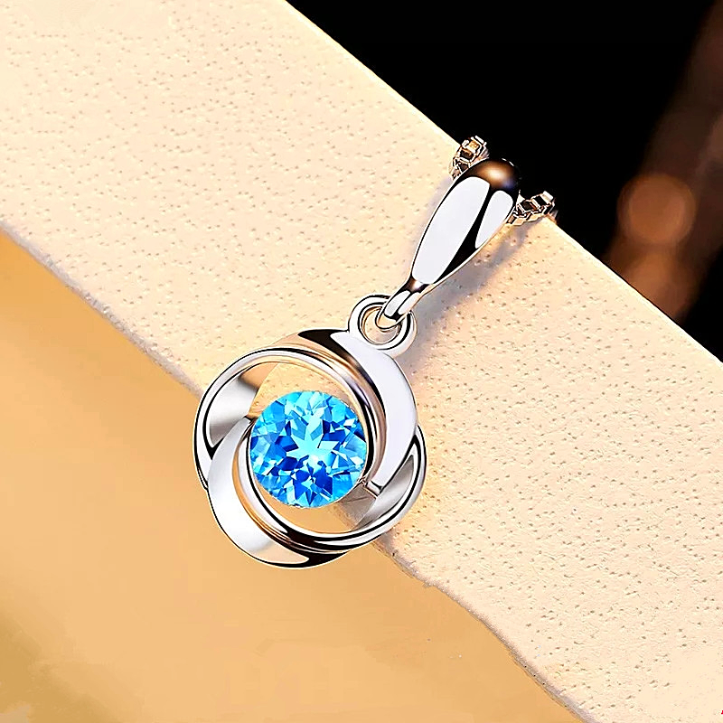 blue crystal pendant zircon silver color Necklace - 1mrk.com