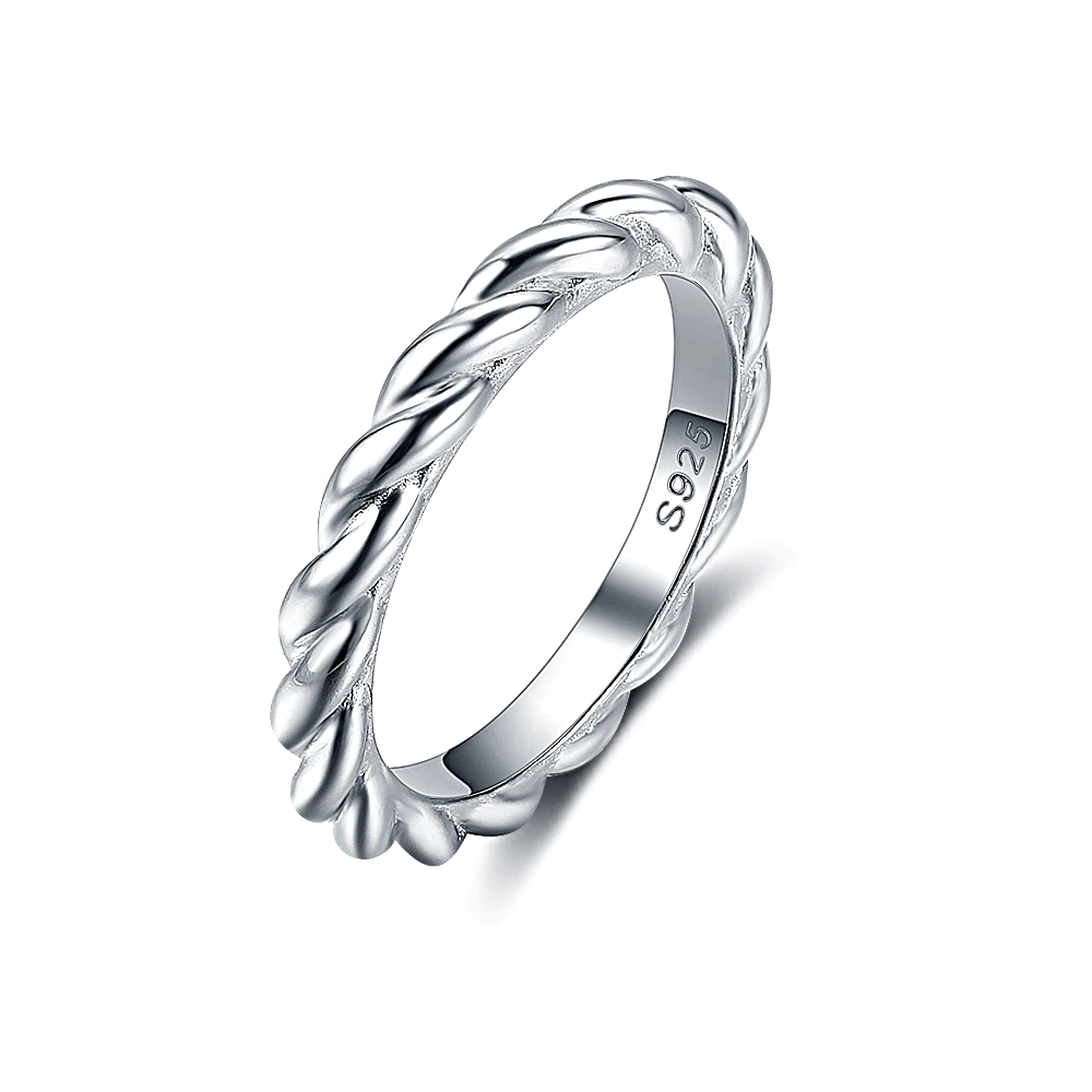 Classic Twisted Ring Silver Stackable  - 1MRK.COM
