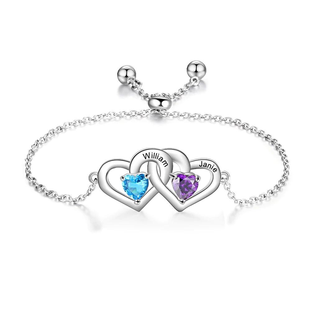 Name Bracelet Custom Double Heart - 1MRK.COM