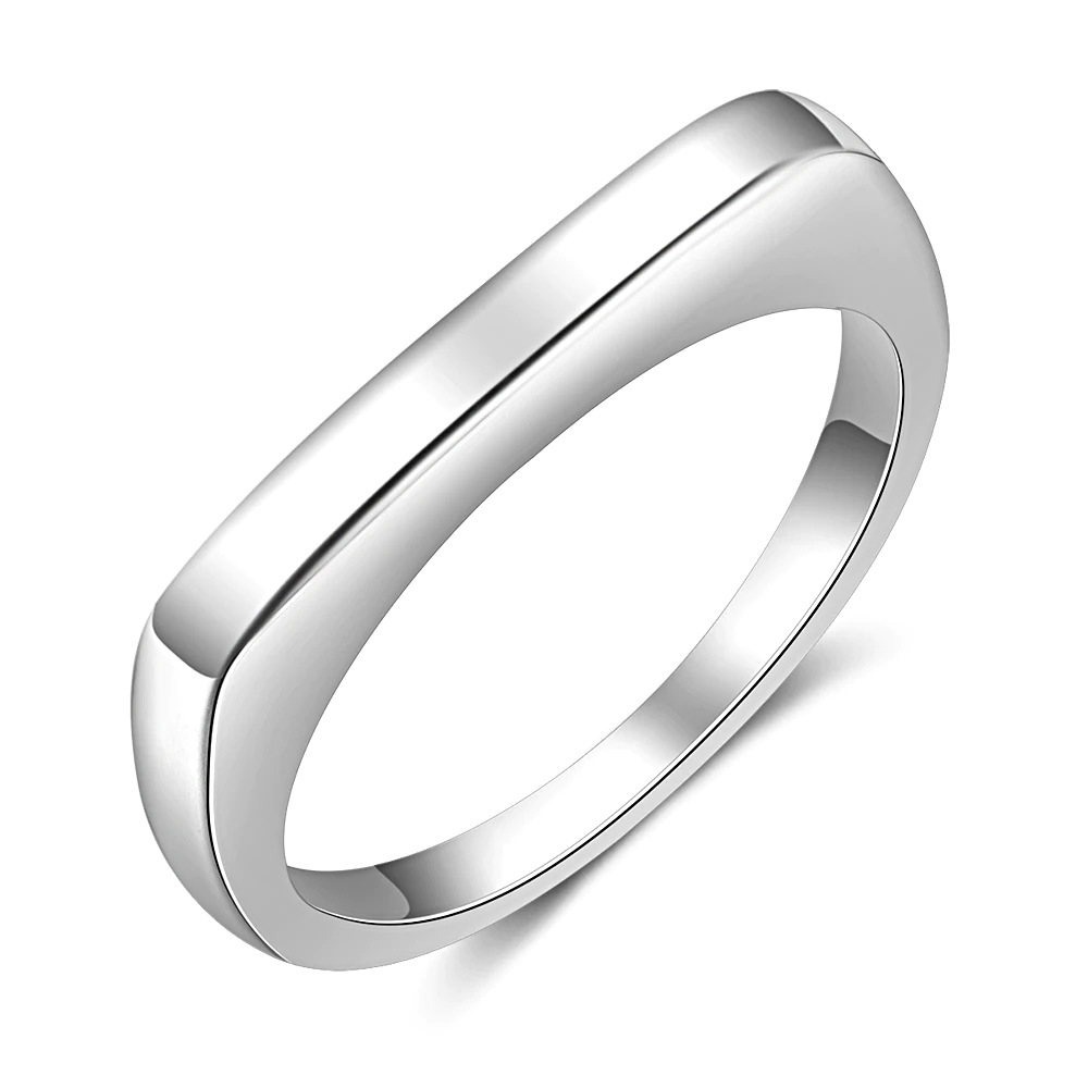 Silver Color Stackable Rings Geometric Rectangle  - 1MRK.COM