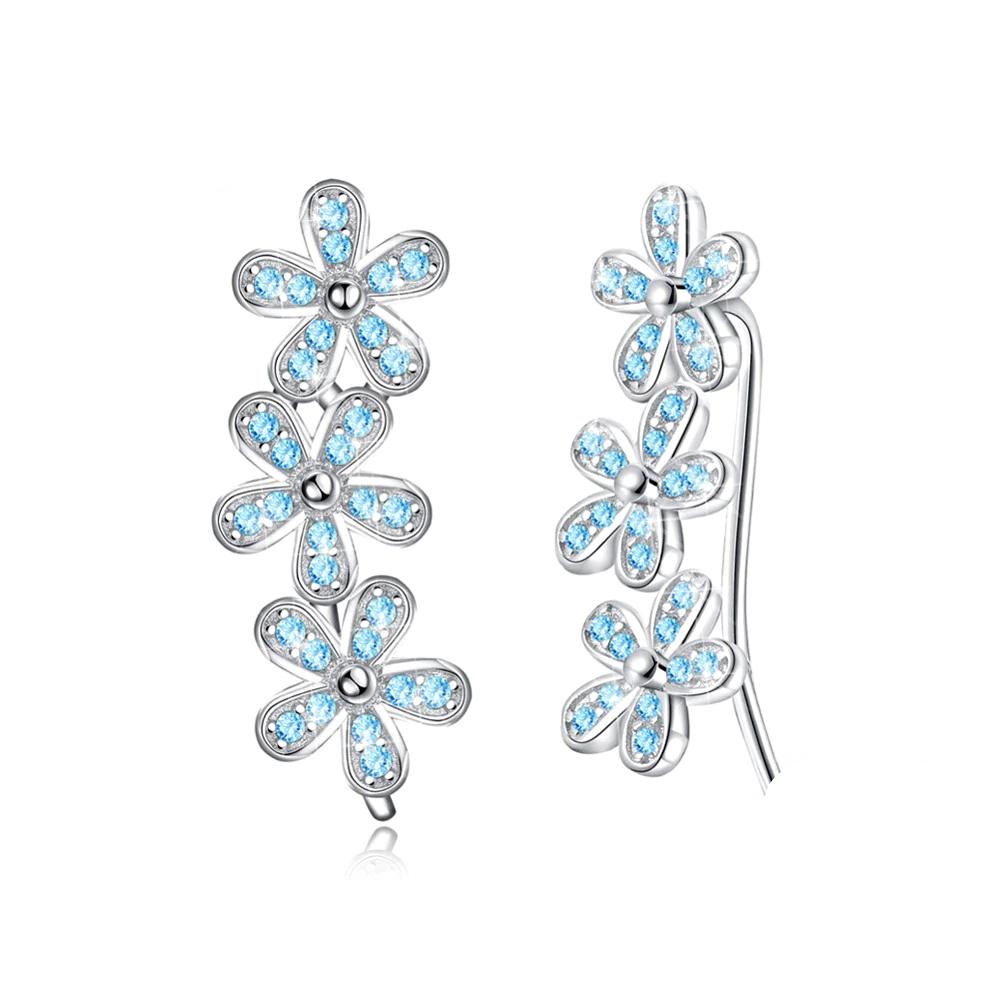 Earrings  Flower Luxury Zirconia Blue White  - 1MRK.COM