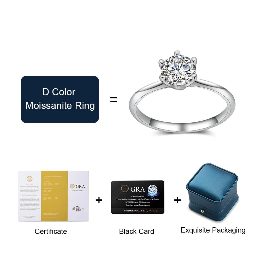 Silver Moissanite Ring Classic Real 925 - 1MRK.COM