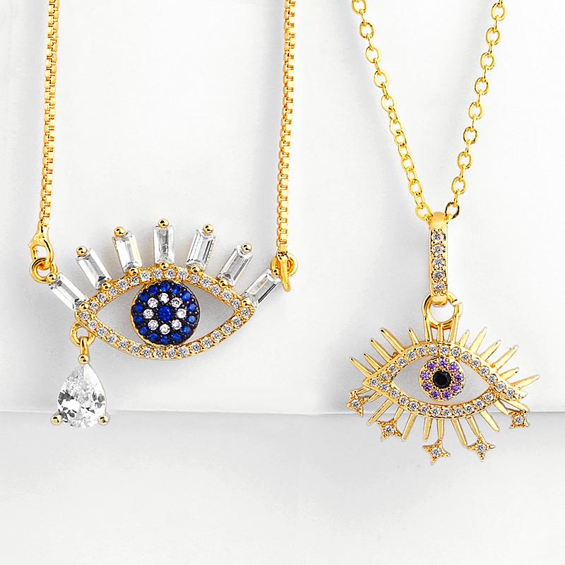 Eye Necklace 18k Gold COLOR Paper Clip Chain Coin - 1MRK.COM