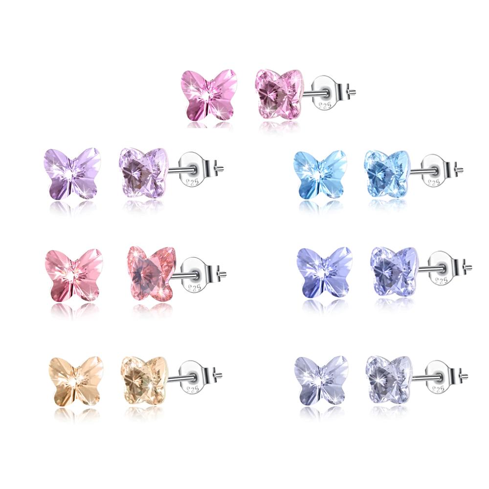 Butterfly Stud Earrings Sweet Colorful Korean - 1MRK.COM