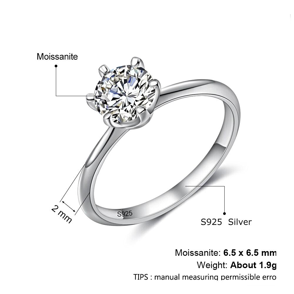 Silver Moissanite Ring Classic Real 925   -1MRK.COM