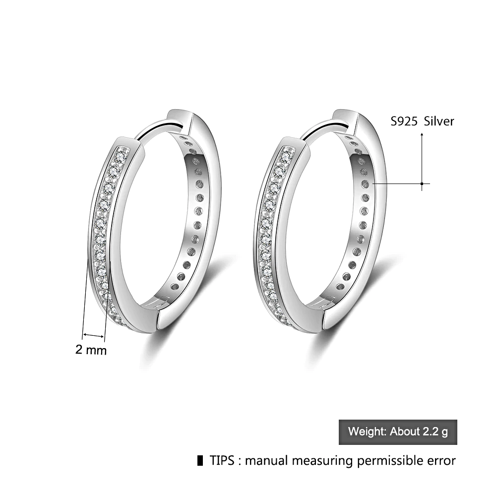 Silver Round Hoop Earrings Classic - 1MRK.COM