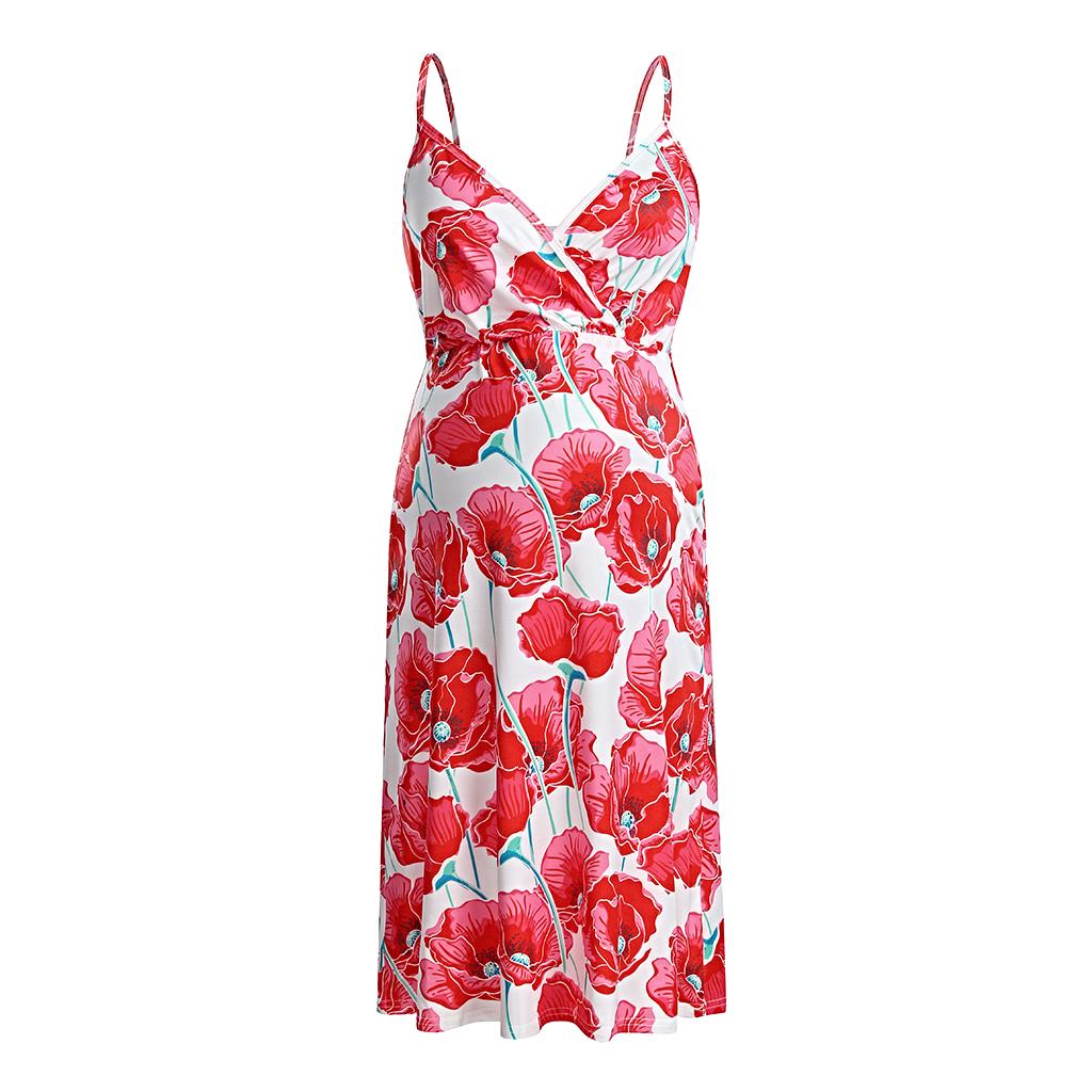 maternity dress mid-length sling flower - 1MRK.COM