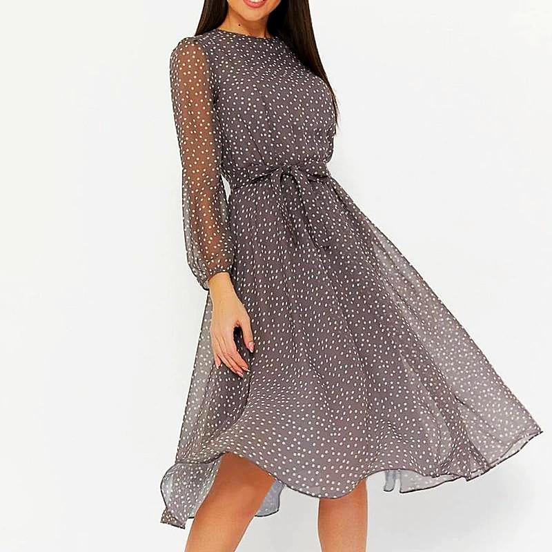 Long-Sleeved Women Midi Dress in Polka Dot 1MRK.COM