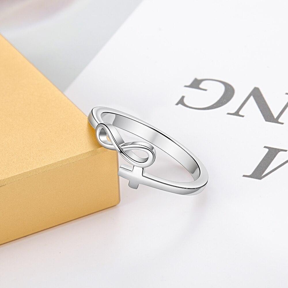 Simple Silver Infinity Cross Rings Love - 1MRK.COM