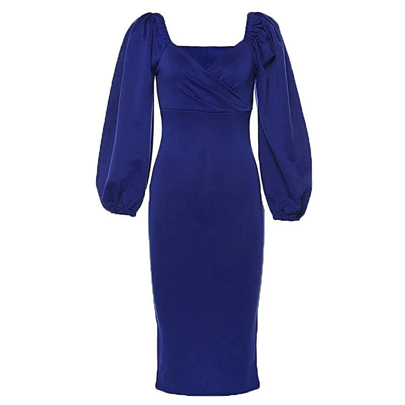 Women V-Neck Lantern Sleeve Dress = 1MRK.COM