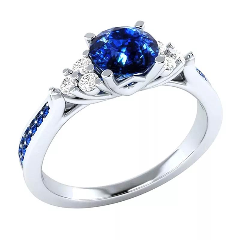 Women's Inlaid Sapphire Zircon Ring - 1MRK.COM