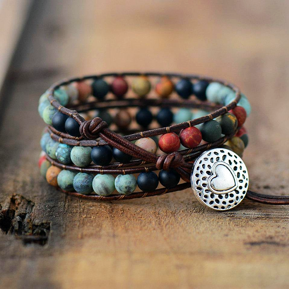 Bohemian Beaded Leather Wrap Bracelet - 1MRK.COM