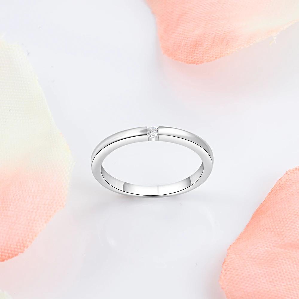 Luxury Silver Color Rings Round Cubic Zircon  - 1mrk.com