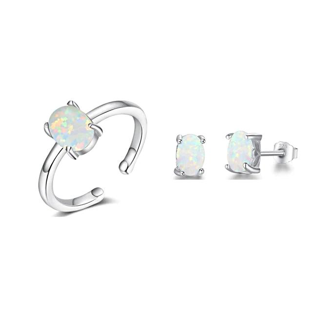 Silver Jewelry Sets Women White - 1mrk.com
