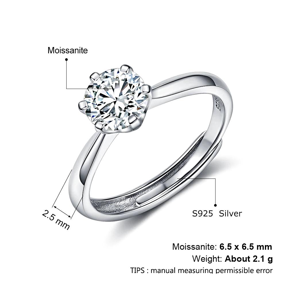 Sterling Silver Moissanite Rings Adjustable - 1MRK.COM