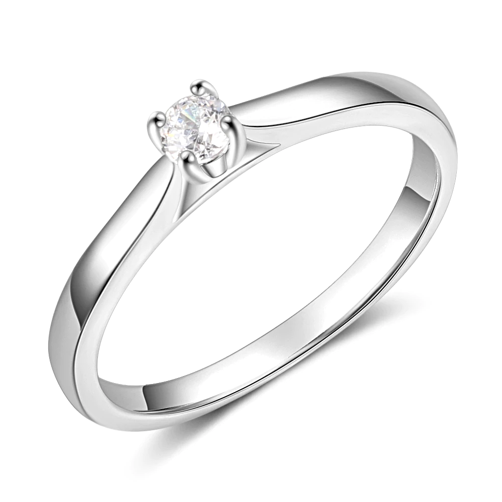 Rings Silver Color Cubic Zirconia Round - 1MRK.COM