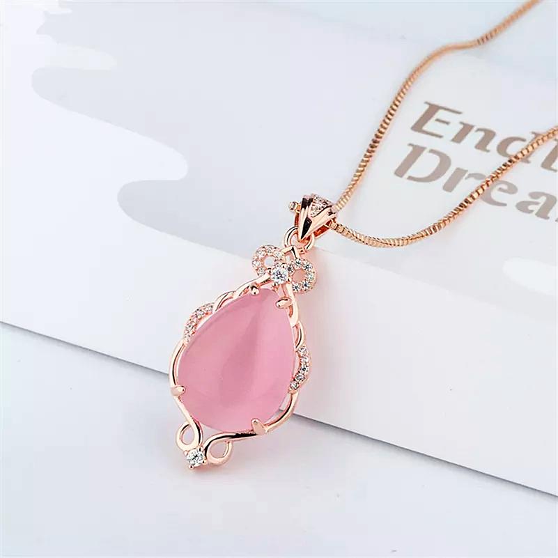 Necklaces Natural pink ross quartz pendant women - 1MRK.COM