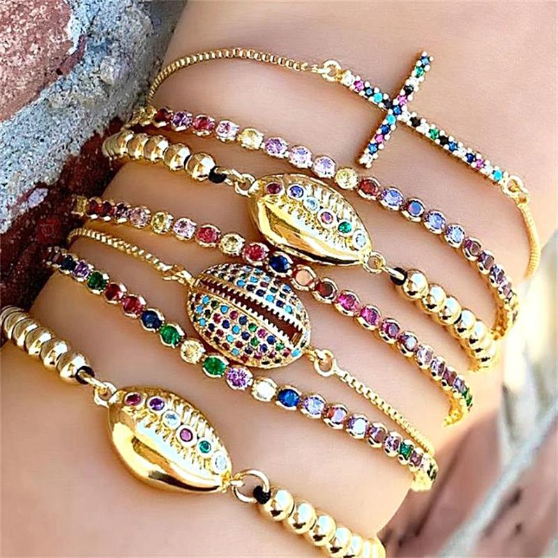 Zirconia Shell Bracelet Chain Adjustable 1MRK.COM