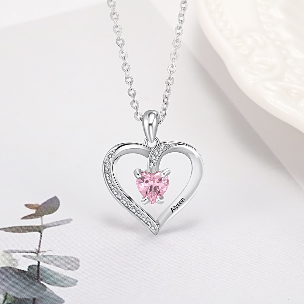 Personalized Name Necklace Custom Heart Stone  - 1MRK.COM