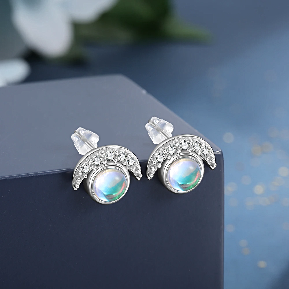 Moon and Star Ring Earrings Sets Silver  Adjustable - 1MRK.COM