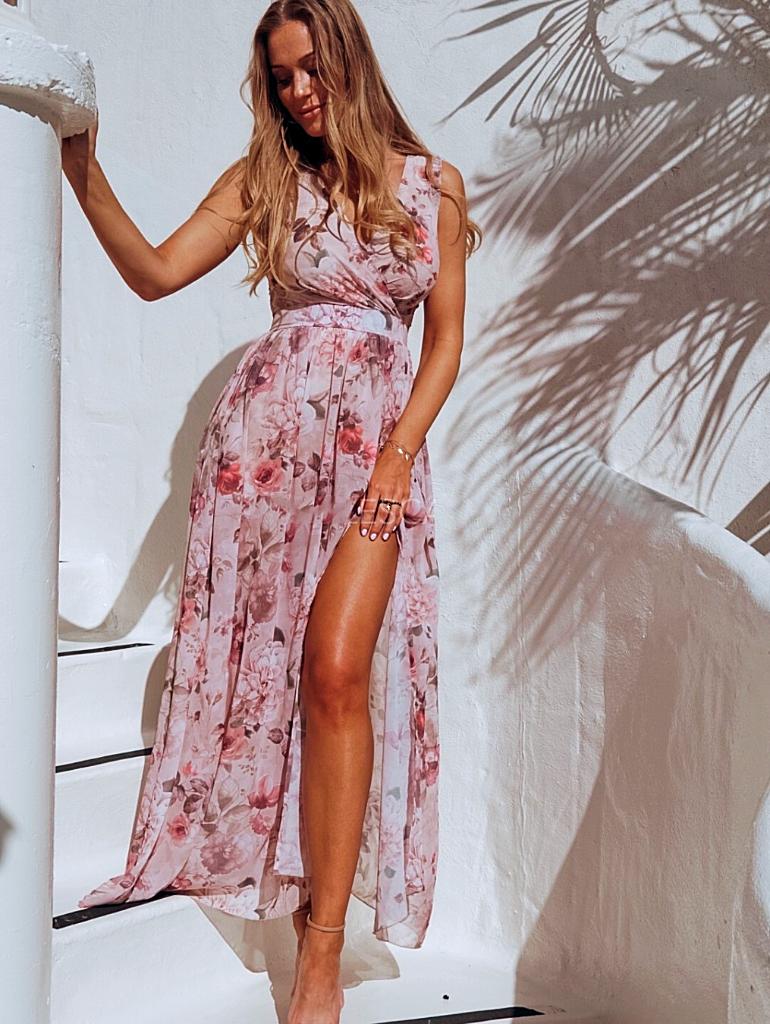 printed chiffon dress sleeveless split long - 1MRK.COM