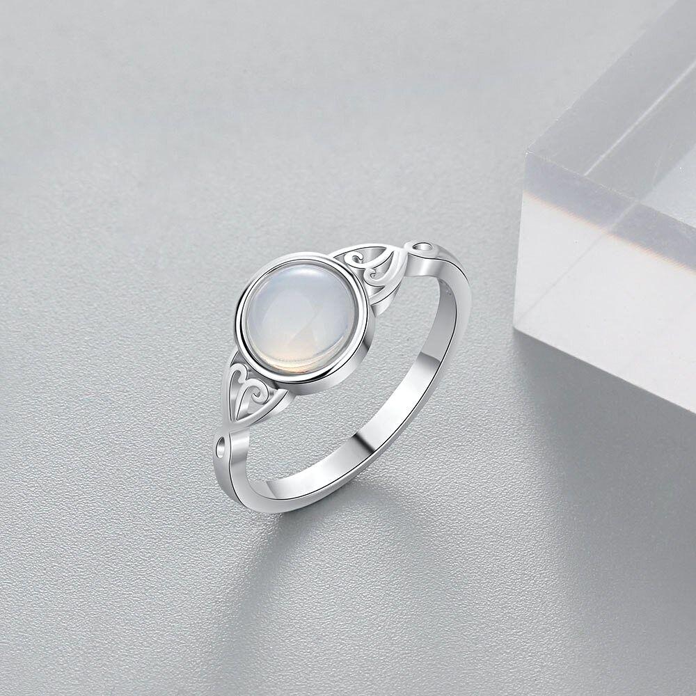Silver Color Finger Rings Charm Moonstone  - 1MRK.COM