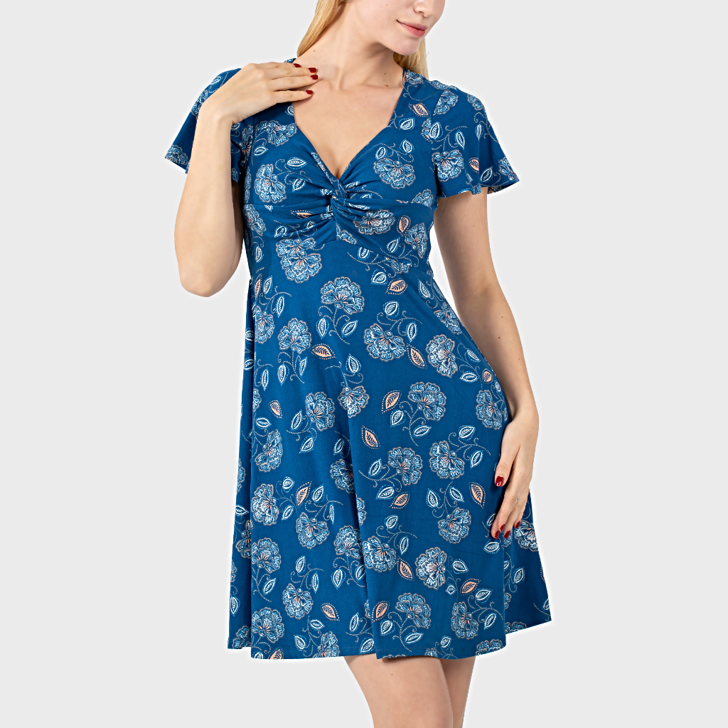 Dresses Casual Short Sleeve A-Line Twist Front  - 1MRK.COM