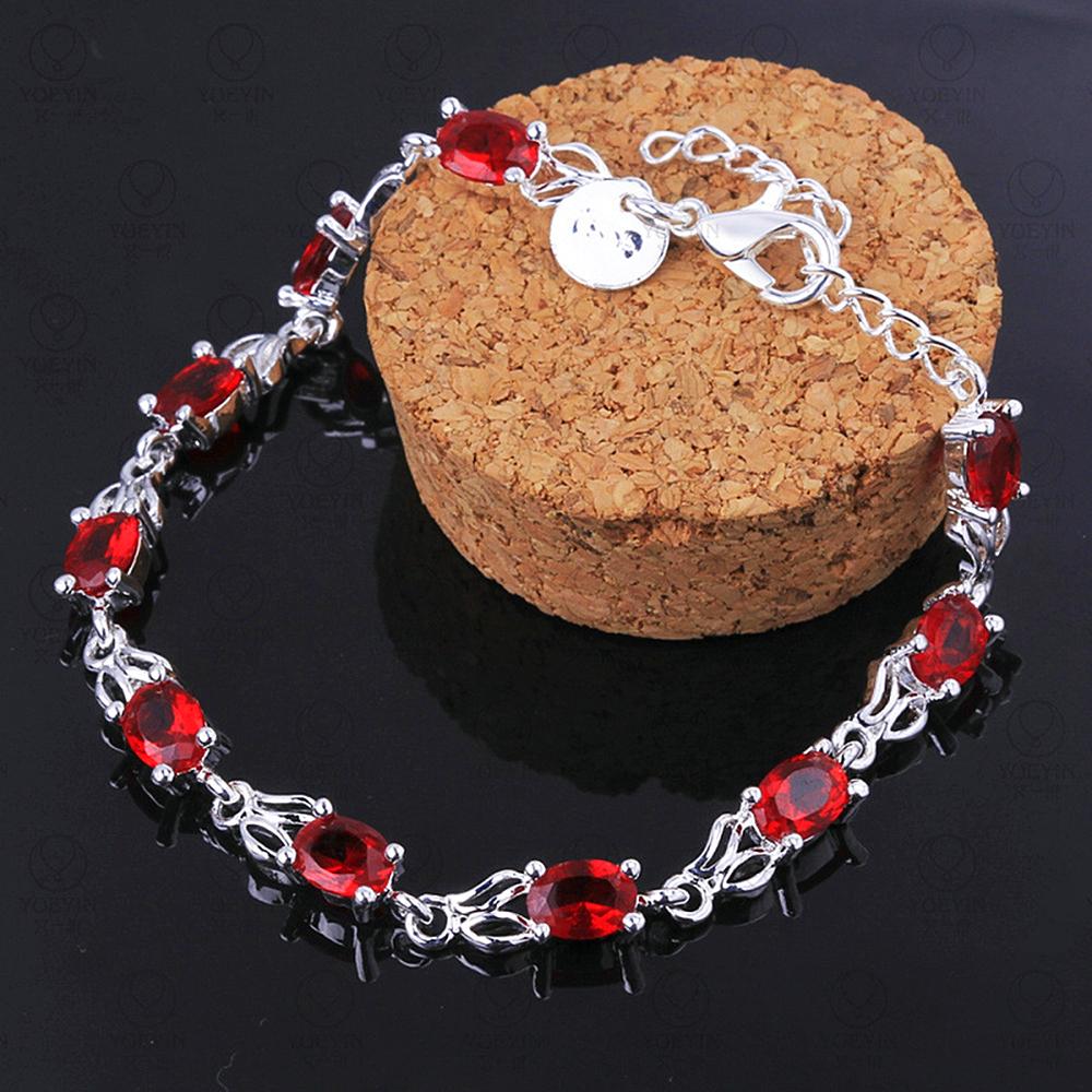 Sterling Silver Plated Ruby Bracelet for Women - 1MRK.COM