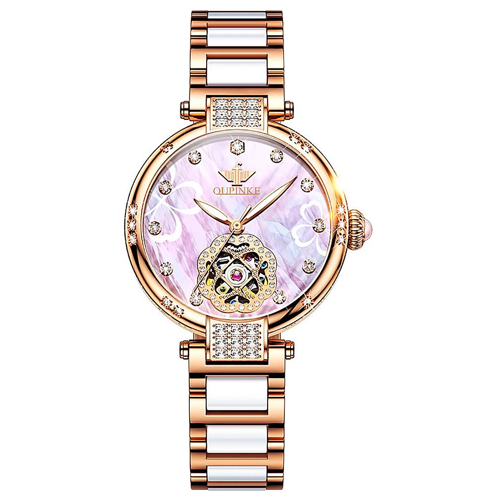 Automatic Mechanical Stainless Steel  Girl Watch  - 1MRK.COM