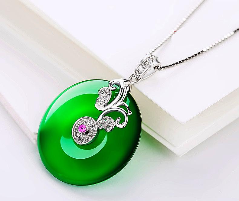 Silver Plated Jewelry Green Chalcedony Emerald Pendant - 1MRK.COM
