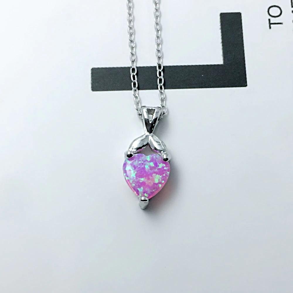 Cute Heart Shape Necklace Pink  - 1MRK.COM