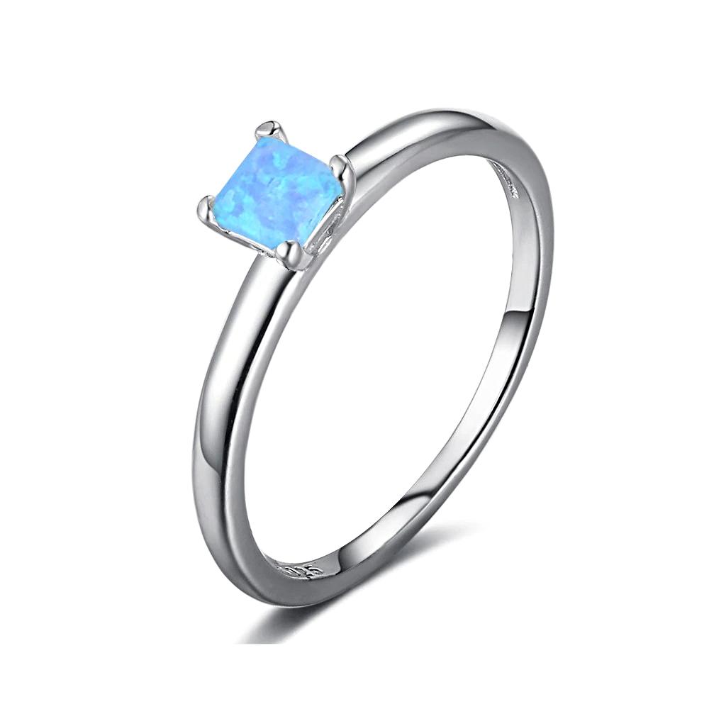 Silver Blue Opal Rings Finger - 1MRK.COM