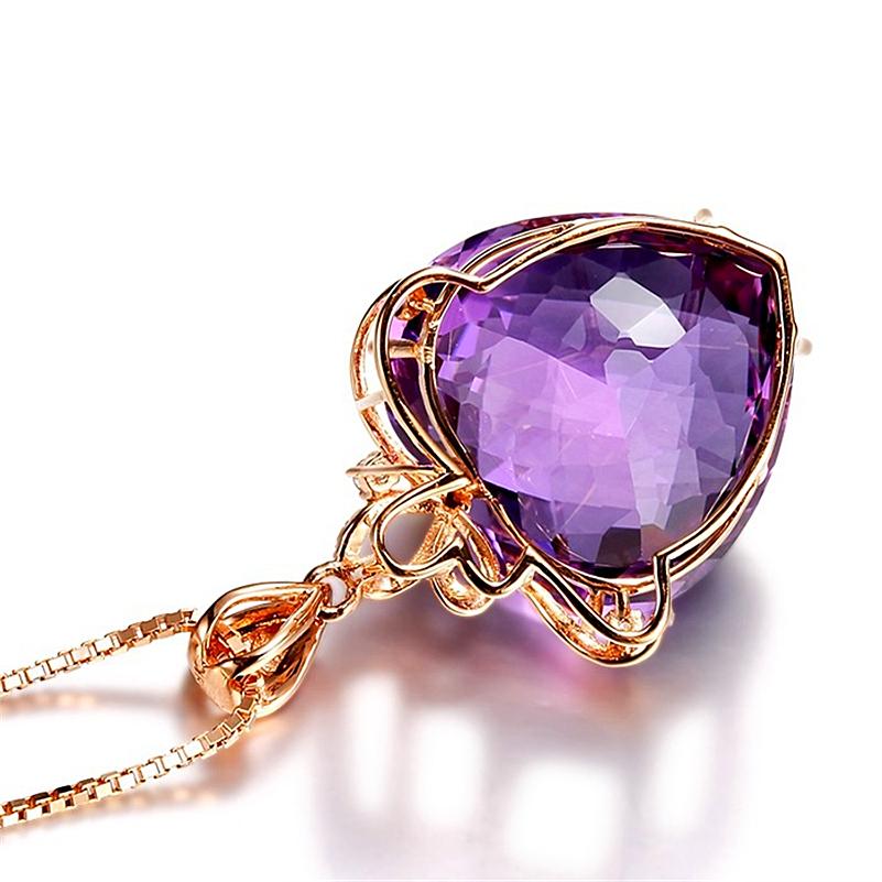 14K rose gold necklace pendant female gemstone - 1MRK.COM