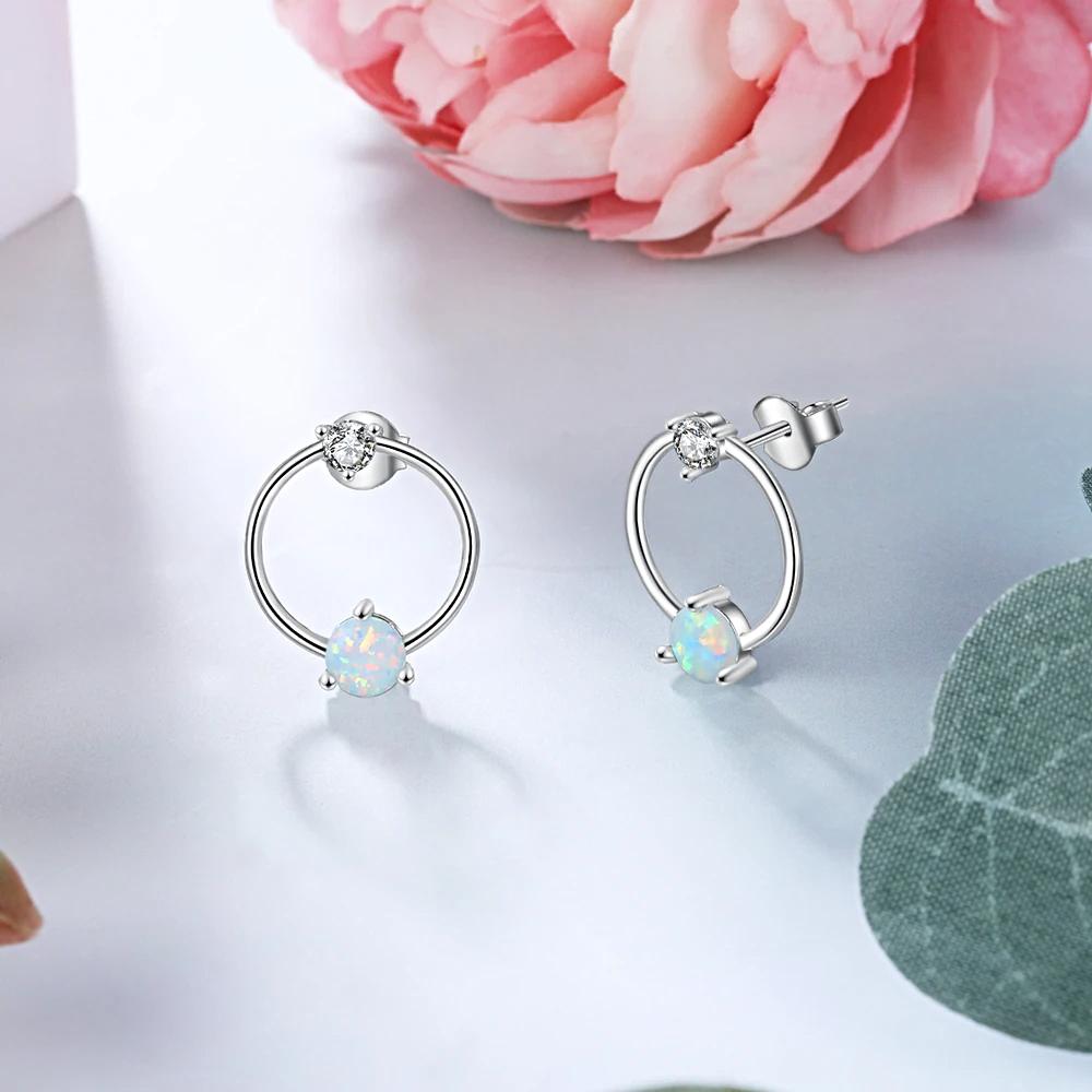 Circle Stud Earrings for Women Round White  - 1MRK.COM