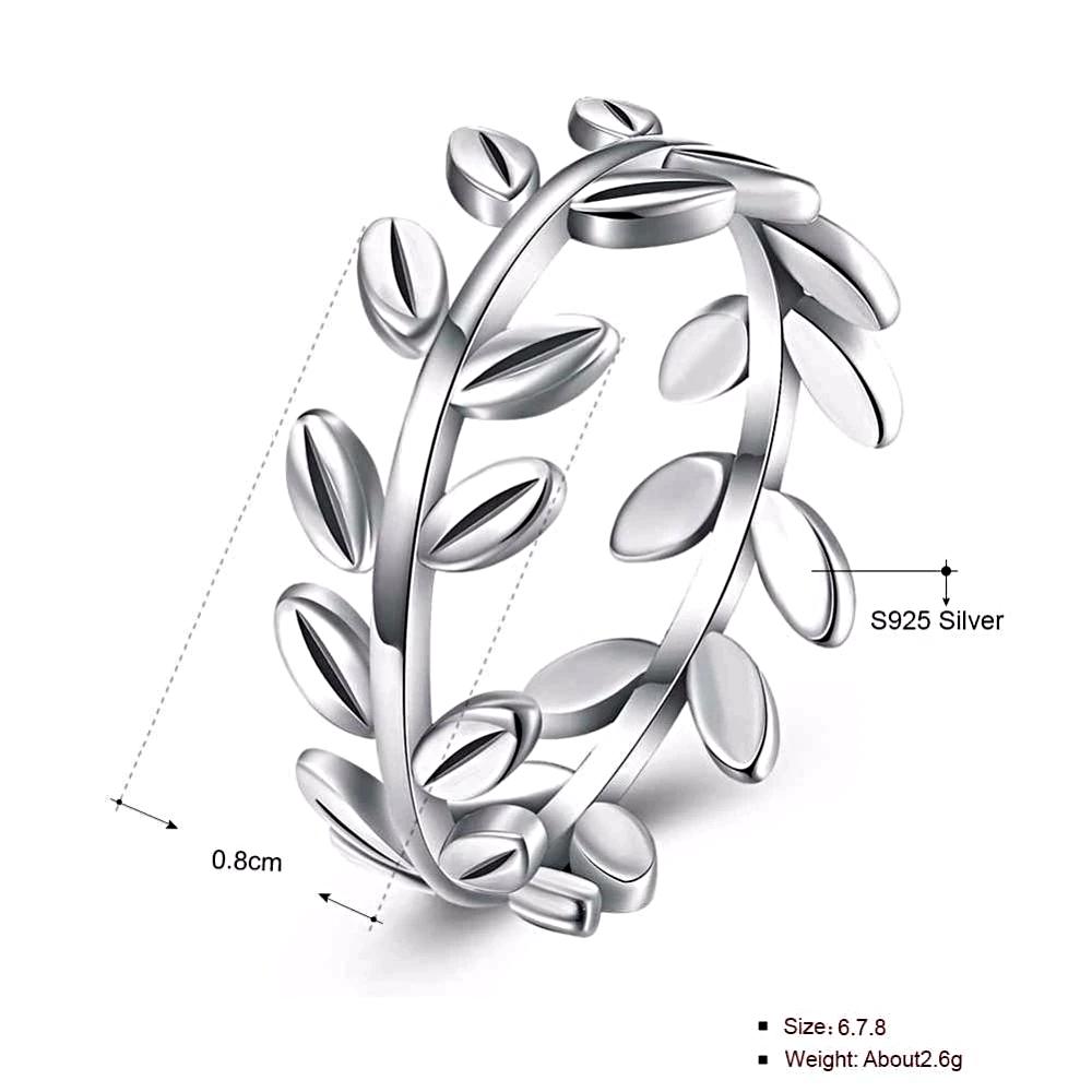 Olive Leaf Simple Style Silver Rings  - 1MRK.COM