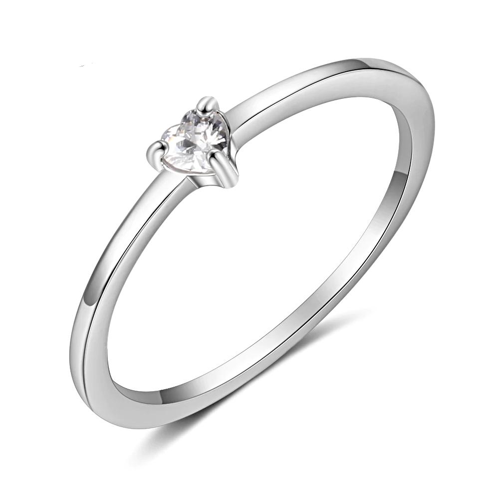 Sterling Silver Rings Clear CZ Heart  - 1MRK.COM
