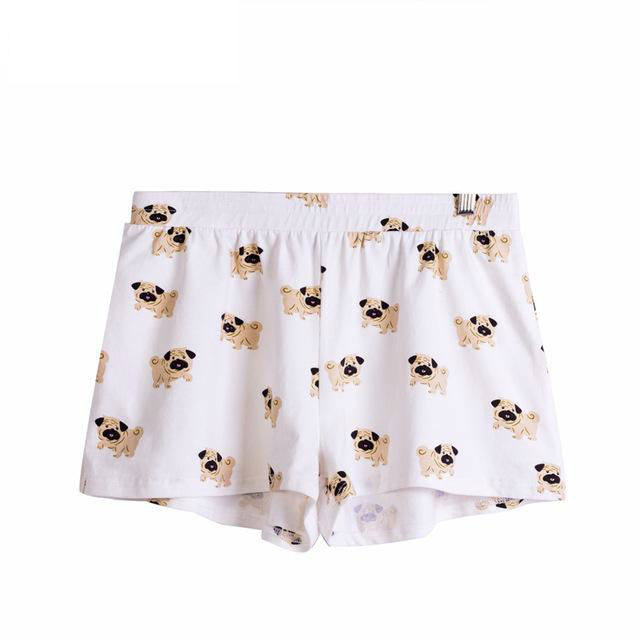 Cute-Sleep-Bottoms-Shorts-Women-Pug-Print-Elastic-Waist-Cotton-Blend-Knitted-Stretchy-Loose-Shorts-Pajamas (1)